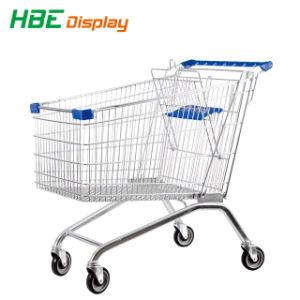 Qualitäts-Lebensmittelgeschäft-Supermarkt drücken Einkaufswagen von Hand ein