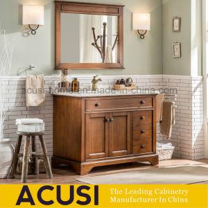 Plancher en bois massif de style américain Salle de bains permanent de la  vanité Cabinet (ACS1-W80)