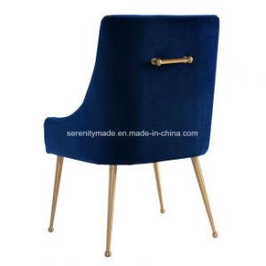 装飾される現代様式のベアトリックス海軍ビロード金のステンレス製の足およびハンドルが付いている肘のない小椅子を食事する