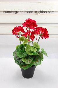Flor artificial do potenciômetro do gerânio do PE para a decoração Home (45071)