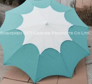 白い特別なヒマワリの形の屋外のビーチパラソルおよびカラーまたは青(OCT-BUFLPB)