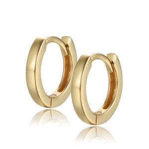 Aiz personalizada de joyas de oro simple y minimalista 12mm chapado en oro 18K Huggie Pendientes Plata 925 al por mayor