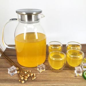 ステンレス鋼の流れのふた、冷水、コーヒー、茶、ジュースの飲料のためのホウケイ酸塩の水差しが付いている大きい容量水Carafeのガラス水差し