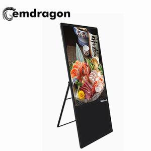 Venda a retalho de TV Display Vertical de acrílico Preto Suporte de ligação WiFi HD player 55 polegadas LCD portátil Digital Signage Country Clubs Publicidade Player LCD de mesa sensível ao toque