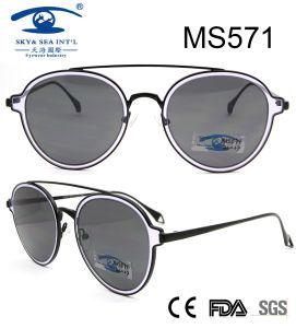 2017 occhiali da sole popolari del metallo delle donne del ponticello del doppio di disegno (MS571)