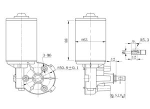 12V 80r 70W DC Motorreductor para el hogar eléctricas con sensor