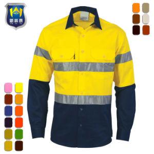Poly reflectante Mens algodón de manga larga camisa de trabajo Hi Vis