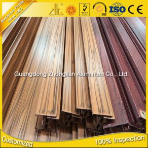 6063 6082 6061 Perfiles de aluminio extrusionado de grano de madera para la decoración