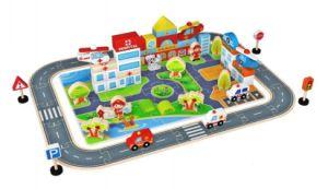 New Fashion 100PCS Bloco do tráfego da cidade de madeira brinquedo para crianças e crianças