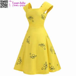 Imprimé floral élégant Mesdames sexy fashion robe Vintage L36172