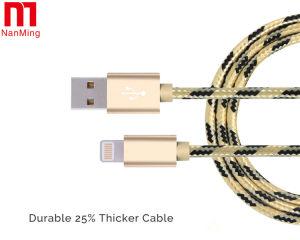 Cuerda de carga de la tela del nilón del USB de los datos del cable trenzado durable de la sinc. para el iPhone
