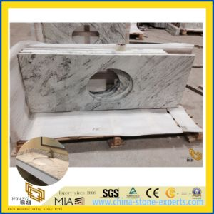 Controsoffitto bianco della pietra del granito del fiume per la stanza da bagno dell'hotel, disegno della cucina