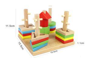 Puzzle criativa forma de madeira Sorter Brinquedo Aprendizagem educacional das crianças do empilhador