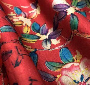 ポリエステルによって編まれる高品質の花のデジタルによって印刷されるサテンのライニングファブリック