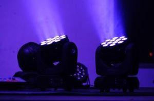 Haz de LED de 12PCS RGBW moviendo la cabeza de la luz de la etapa