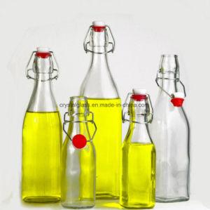 500ml 1000ml Glasgetränkesaft-Milchflasche mit Klipp-keramischer Schwingen-Schutzkappe