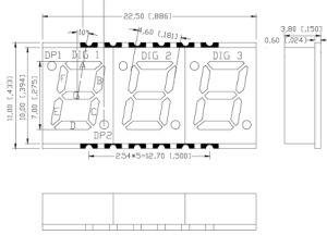 0,28 дюйма три цифры 7 Сегмент светодиодный дисплей для поверхностного монтажа