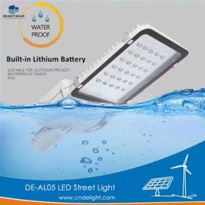 LEIDENE van de Verlichting van de Batterij van het Lithium van de verrukking Ingebouwde Zonne Lichte Straatlantaarn