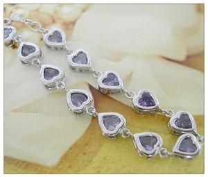 Echt Zilveren Hart met de Armband B0027 van de Violetkleurige Charme van CZ