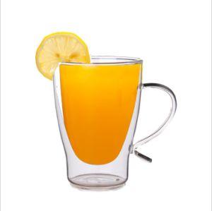 Tasse en verre double paroi avec poignée de nouvelle conception