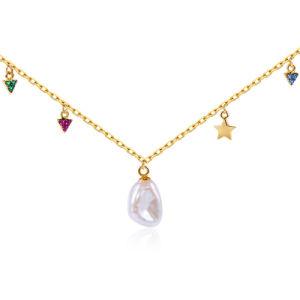 Bisutería plata esterlina 925 Diamond y Pearl Necklace