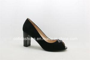 17ss Classic Chunky Chaussures en cuir talon dame
