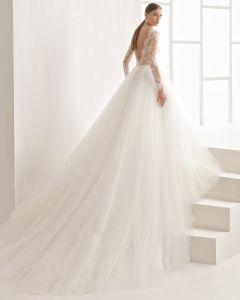La dentelle à manchon long Katywell Sash Mesdames les robes de mariée robe de mariage (RS003)