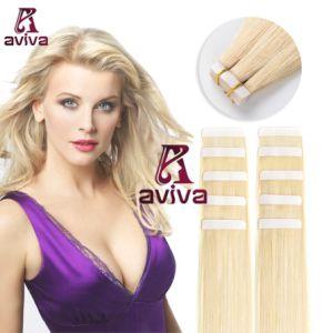 Weft Band van de Huid van de Kleur van het Haar van Aviva de Maagdelijke Blonde in de Uitbreiding 16inch van het Menselijke Haar van de Band van de Uitbreiding Pu van het Haar (av-tp0016-613)