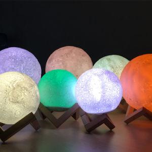 3D Lamp van de Nacht van 16 Kleuren van Af:drukken RGB Lichte Maan Gevormde