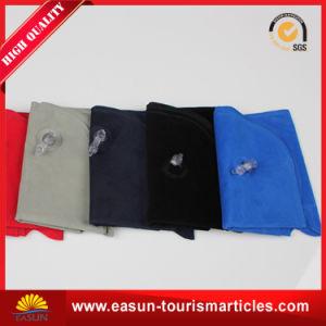 Flocado de PVC Cuello Almohada de viaje hinchable para pasajes