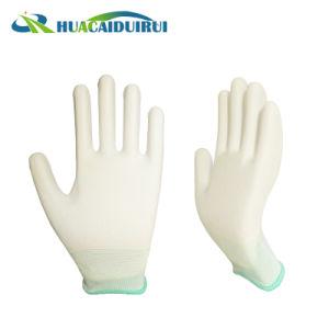 13 guantes revestidos de nylon blancos de la PU del calibrador medios