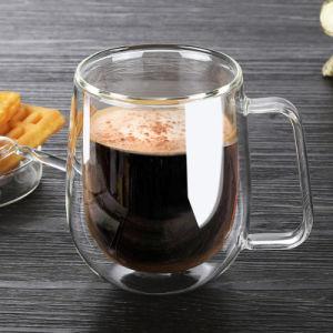 ミルクおよびコーヒーのための卸し売り250ml二重壁のガラスコップ