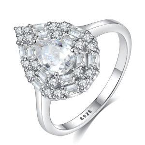 Mulher branca de moda banhado a ouro S925 Sterling Silver Gemstone Ring