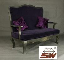 Des meubles anciens - Français de l'amour violet canapé avec rembourrage de siège S030
