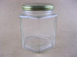Jarra de vidro hexagonal, boiões de vidro, jarra de vidro de armazenamento, Mason Copo com tampa de vidro