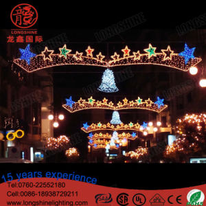 Año Nuevo al aire libre cruzando la calle LED luces de la decoración de Navidad