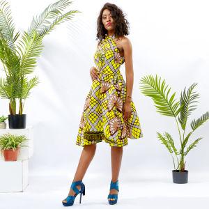Los nuevos diseños africanos Ankara Imprimir Camiseta sin mangas sueltas cabestro vestido de mujer