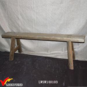 Vecchio sgabello lungo di legno francese antico del banco