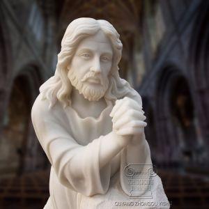 Natuurlijke Witte Marmeren Jesus Prayer Statue, voor Kerken en de Binnenplaatsen van de Tuin