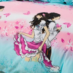 よい価格の低価格の顔料プリントポリエステル羽毛布団カバー敷布の寝具