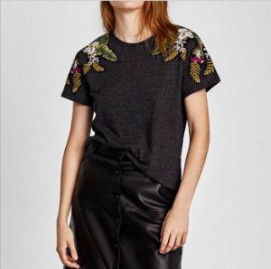 숙녀 우연한 대나무 면 t-셔츠 디자인