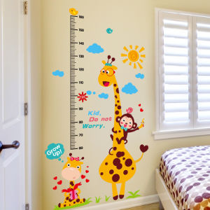 カスタムPVCは高さの測定の漫画の動物の成長曲線の壁のステッカーをからかう