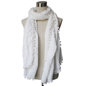 Fashion Viscose Cotton Polyester女性絹によって編まれるショールのスカーフ(YKY4375)