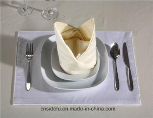Hotel toalhas de mesa e guardanapos de cetim de poliéster branco