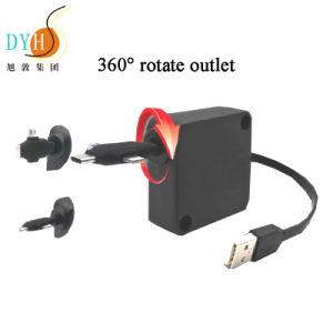 0,8 m de extensión retráctil 3 en 1 cable cargador rebobinadora