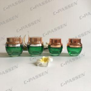 Skincareの包装のためのAlumiteの帽子が付いている50g深緑色のガラス装飾的な瓶(PPC-GJ-013)