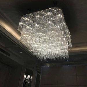 Quadrado branco cristal decorativa Lâmpada pendente com projeto de hotel