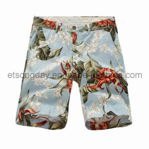 Il fiore blu dell'acqua ha stampato gli Shorts 100% degli uomini del cotone (MRDS479)