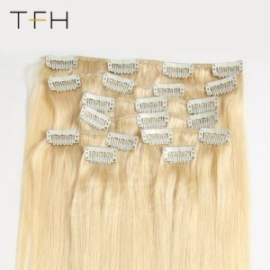 上の方法毛14は 16  18  20  22  24台の 26 機械Remyの毛8PCSに人間の毛髪の拡張完全なヘッド一定のブロンドの女性#613カラー直毛の一定クリップをした