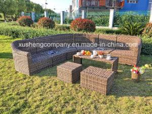 9pcs de aluminio Rattan Mesa de sofá de jardín muebles de exterior